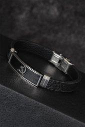 Silver Renk Orak Figürlü Metal Aksesuarlı Siyah Renk Deri Erkek Bileklik