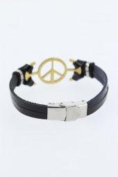 Gold Renk Barış Figürlü Metal Aksesuarlı Siyah Renk Deri Erkek Bi