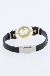 Gold Renk Deniz Çapası Figürlü Metal Aksesuarlı Siyah Renk Deri E