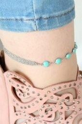 Silver Renk Çoklu Zincirli Mavi Taşlı Hal Hal