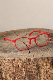 Kırmızı Renk Oval Mat Bayan Gözlük