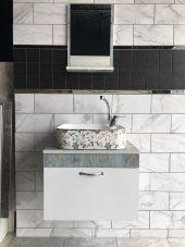 Banyo Dolabı+etajerli Ayna+desenli Lavabo+mix Lavabo Batarya