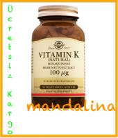 Solgar Vitamin K (Natural) 100 Mcg 50 Kapsül Skt 10 2019 (Mk 7)