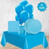 Açık Mavi Doğum Günü Balonlu Parti Paketi Süs Seti 25 Kişilik
