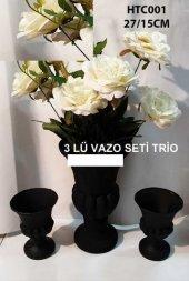 Vazo Seti 3 Lü Siyah