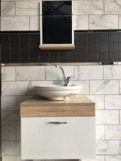 Banyo Dolabı+etajerli Ayna+36x45 Oval Lavabo+mix Batarya