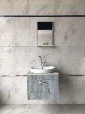 45x45 Güral Lavabo Banyo Dolabı Etajerli Ayna Mix Lavabo Bataryası