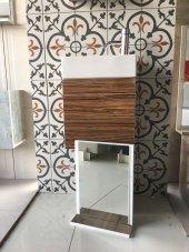 Mdf Parlak Lam Dolap+etajerli Ayna+42x21 Lavabo+montaja Hazır Tes