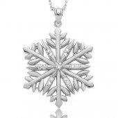 Kar Tanesi Kolyesi Kristal Bayan Gümüş Kolye