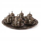 Lendi Osmanlı Motifli 6 Kişilik Kahve Fincanı Pirinç Eskitme