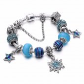 Angemiel Mavi Kristal Kar Tanesi Parlayan Yıldız Charm Bileklik