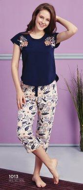 Desen Detaylı Lacivert Kapri Pijama Takımı BB-1013