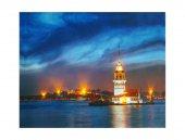 Dekoratif Led Işıklı İstanbul Kız Kulesi Kanvas Tablo Led Tablo