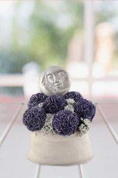 Angemiel Ölümsüz Çiçek Ay Gölgesindeki Mor Çiçek Topları Kokulu Hediye Aranjmanı