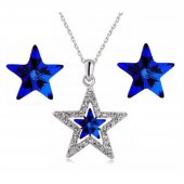 Angemiel Mavi Kristal Taşlı Yıldız Kolye Küpe Takı Seti