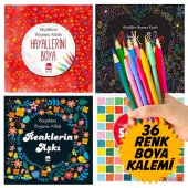 MANDALA Büyükler için 4 BOYAMA KİTABI + Renkli Boya kalem Seti-5