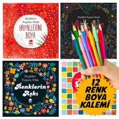 MANDALA Büyükler için 4 BOYAMA KİTABI + Renkli Boya kalem Seti-7