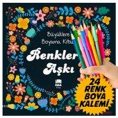 MANDALA Büyükler için BOYAMA KİTABI + Renkli Boya kalem Seti-10