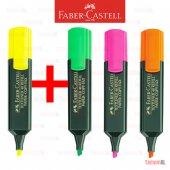 Faber Castell Fosforlu Kalem Sarı Pembe Yeşil Turuncu 3+1