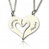 Soufeel Kişiye Özel Dore 925 Ayar Gümüş Çift Kalp İsim Kolye