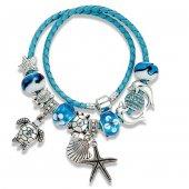 Angemıel Mavi Deri Deniz Yıldızı Yunus Charm Bileklik