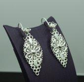 Midyat Mardin Telkari Küpe Gümüş El İşi Yaprak Modeli Bayan Küpes