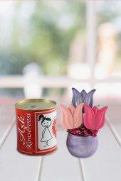 Angemiel Ölümsüz Çiçek Renkli Laleler Aşk Konservesi Hediye Sepeti