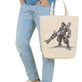 Angemiel Bag Büyük Illustration Çizim Savaşçı Alışveriş Plaj Bez Çanta