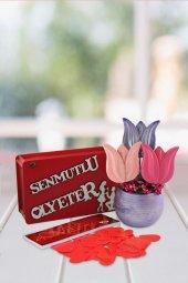Angemiel Ölümsüz Çiçek Mutlu Ol Yeter İle Renkli Laleler Hediye Sepeti