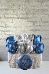 Angemiel Ölümsüz Çiçekler Mavi Gümüş Güller...