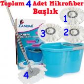 Mop Temizlik Kovası Seti 4 Adet Mikrofiber Başlıkl...