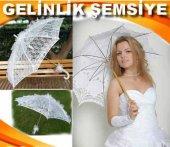 Gelin Şemsiyesi Tüllü Dantelli Fırfırlı Şemsiye Ge...