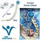 Frozen Karlar Ülkesi Elsa Anna Saç Taç Asa Seti...