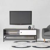 Boo Luther Sürgülü Kapaklı Metal Ayaklı Tv Sehpası Beyaz