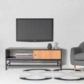 Boo Luther Sürgülü Kapaklı Metal Ayaklı Tv Sehpası Siyah Seamteak