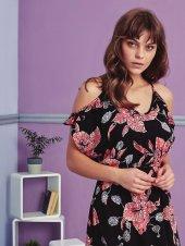 Çiçek Desen Detaylı Elbise Pijama BB-1083