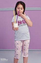 Çizgili Desen Detaylı Takım Pijama BB-1039K