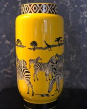 Zebra Desenli Sarı 3lü Vazo Seti-2