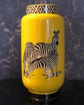 Zebra Desenli Sarı 3lü Vazo Seti-3