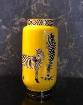 Zebra Desenli Sarı 3lü Vazo Seti-4