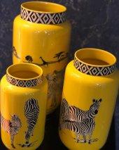 Zebra Desenli Sarı 3lü Vazo Seti-5