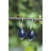 Stoneage Bayan Gümüş Küpe Lapis Lazuli Sevgiliye Hediye