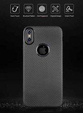 Apple iPhone X Kılıf İ-Zore Karbon Silikon Kapak + Cam Ekran Koru-3