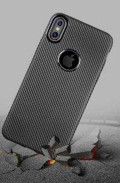Apple iPhone X Kılıf İ-Zore Karbon Silikon Kapak + Cam Ekran Koru-4