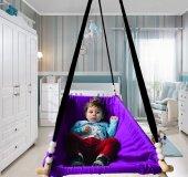 Altev Ahşap Yaylı Zıpzıp Hamak Beşik Hoppala Tavana Asılan Salıncak Bebek Yatağı Kordon Halatlı-2