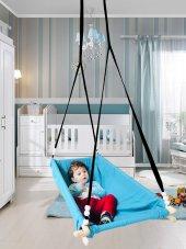 Altev Ahşap Yaylı Zıpzıp Hamak Beşik Hoppala Tavana Asılan Salıncak Bebek Yatağı Kordon Halatlı-3
