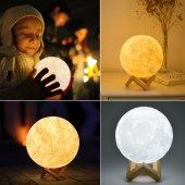 3d Ay Gece Lambası Dokunmatik Renk Değişen Şarjlı Dekoratif Büyük