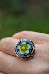 Stoneage El Yapımı Cam Çiçek Ayarlanabilir Bayan Yüzük