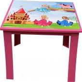 çocuk Masası Plastik Pembe Prenses Resimli H40 1 3...