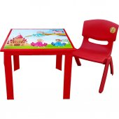 çocuk Masa Sandalye Takımı Kırmızı Prenses 1 3 Yaş...